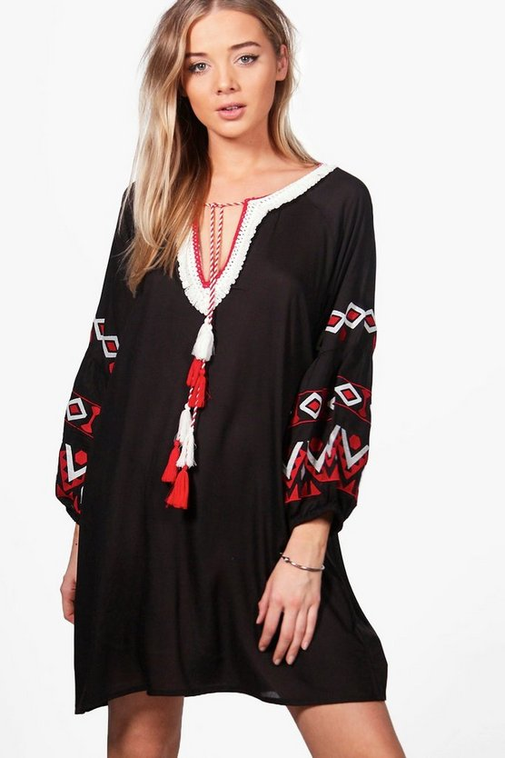 Boutique Evron Embroidered Smock Dress