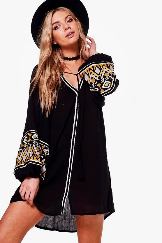 Boutique Emiko Embroidered Smock Dress