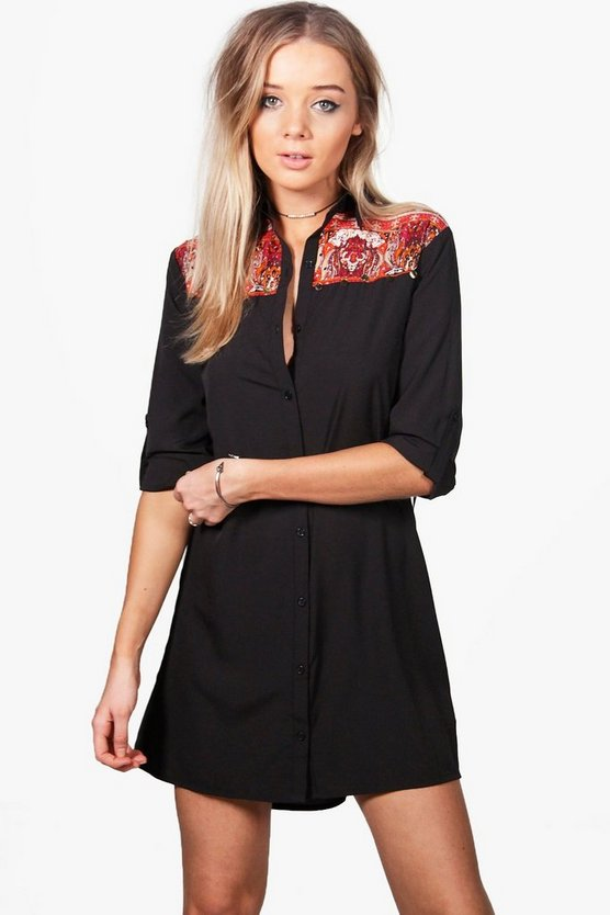Elsie Fringed Back Western Shirt Dress