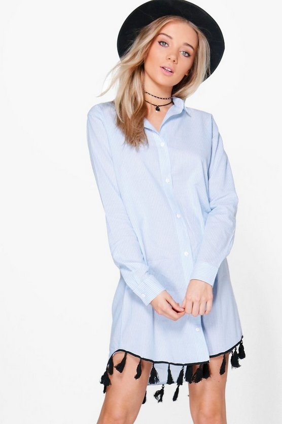 Ellie Long Sleeved Tassel Shirt Dress