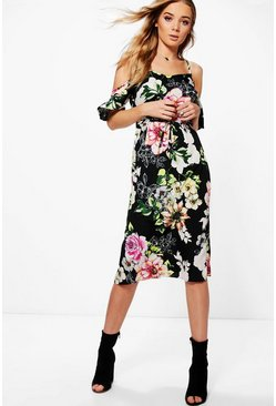 Eliza Floral Cold Shoulder Midi Dress