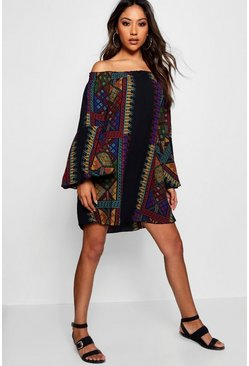 Casey Panel Print Off Shoulder Shift Dress