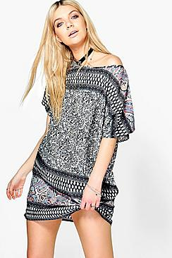 Beryl Printed Cap Sleeve Shift Dress
