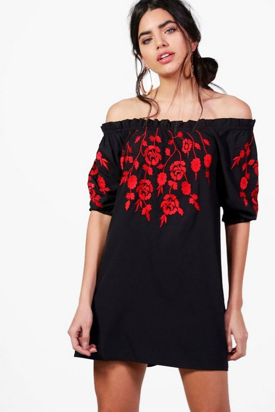 Belle Off Shoulder Embroidered Shift Dress