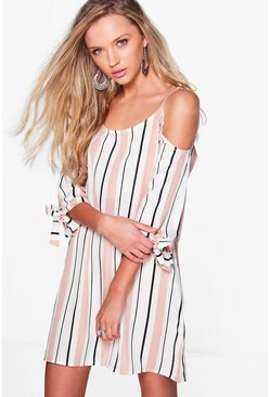 Bekki Stripe Cold Shoulder Shift Dress