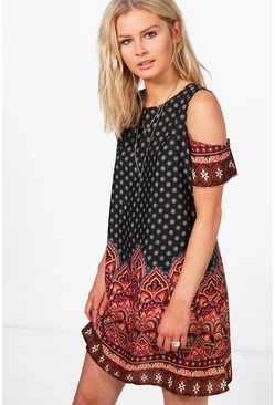 Becky Cold Shoulder Shift Dress