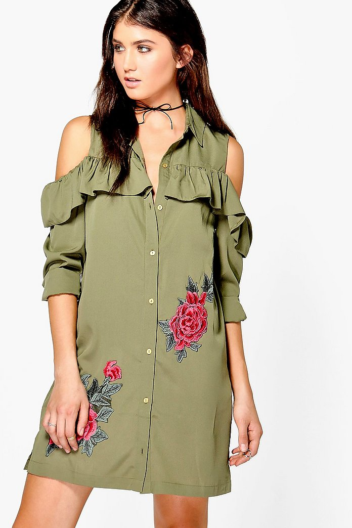 Jen Cold Shoulder Embroidered Shirt Dress