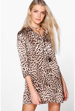 Amada Leopard Print Shift Dress