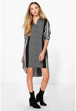 Alice Mono Print Long Sleeved Shirt Dress