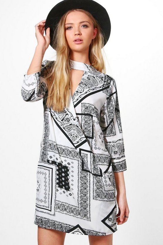 Aleta Mono Wrap Shirt Dress