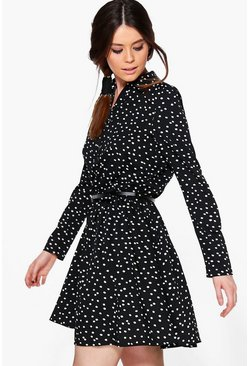 Alena Long Sleeved Spot Shirt Dress