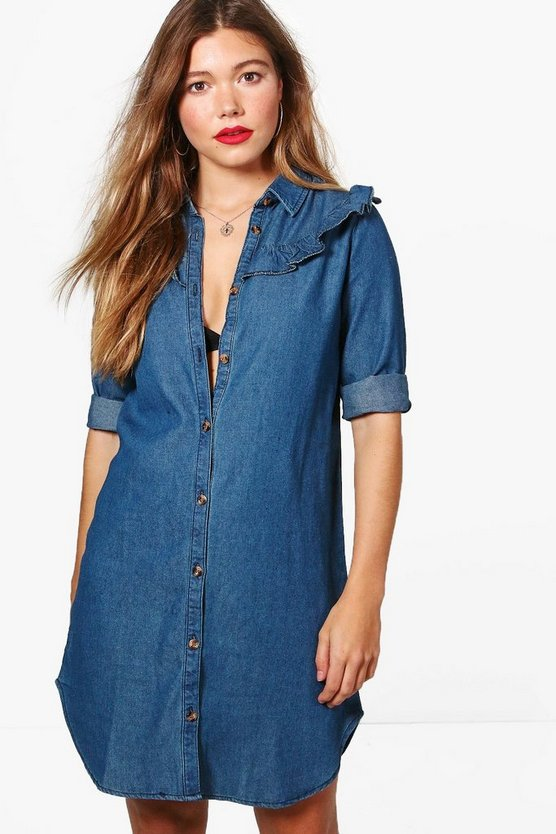 Sophia Ruffle Denim Shirt Dress