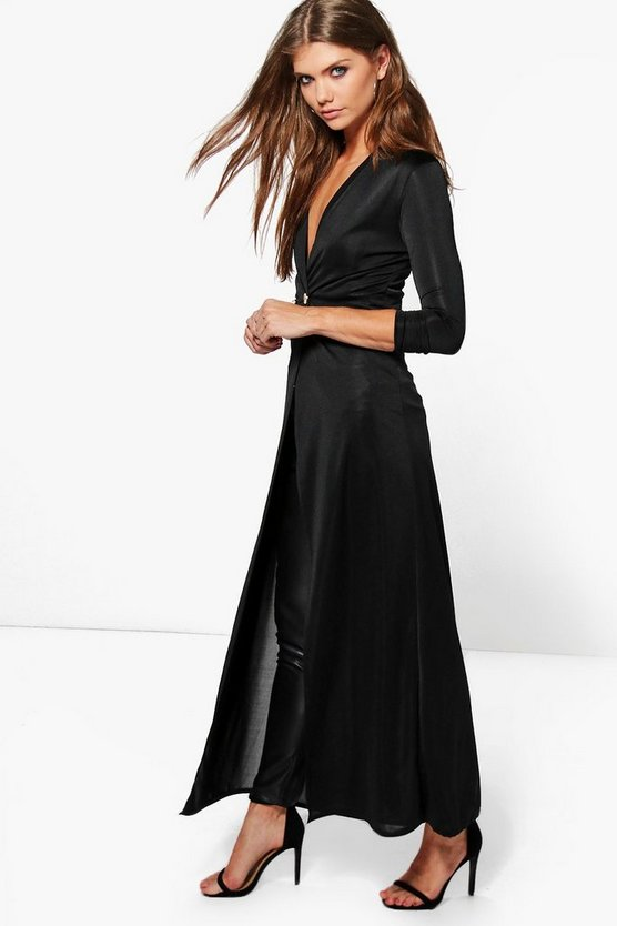 Evelyn Double Breasted Slinky Maxi Duster