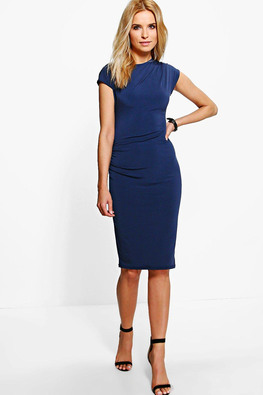 Amber Ruched Side Midi Dress