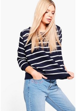 Elizabeth Cold Shoulder Striped Jumper