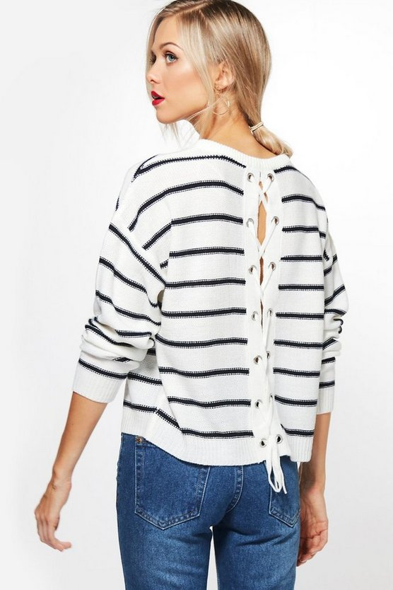 Paige Nautical Stripe Jumper With Lace Up Back