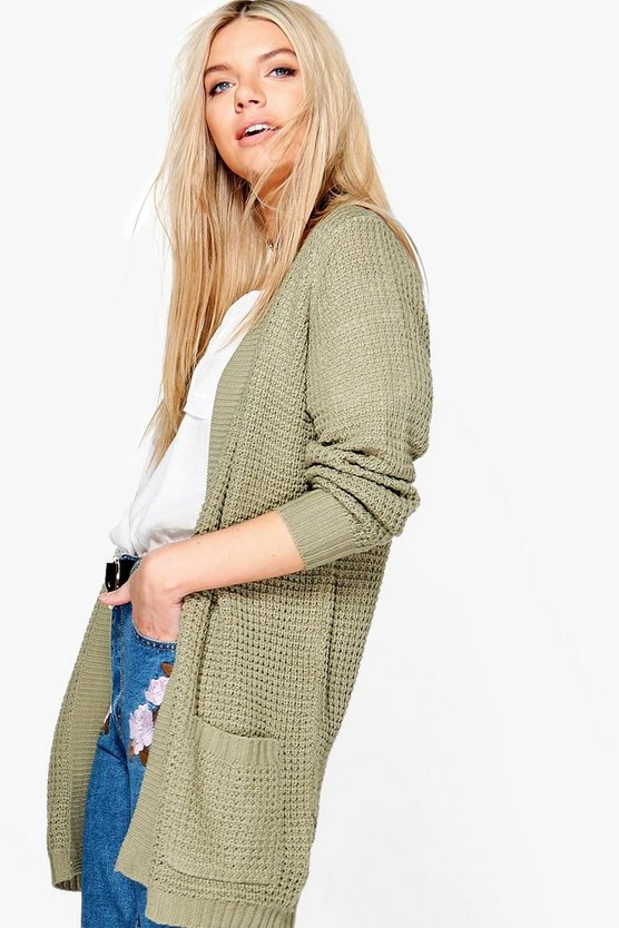 Leah Open Front Cardigan With Pockets