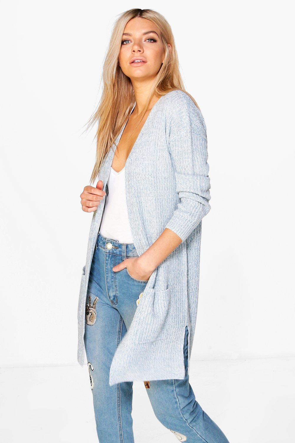Shawl Collar Fisherman Rib Knit Cardigan  pastel blue