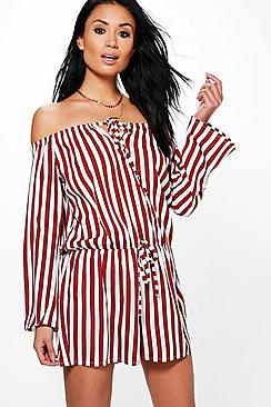 Sonia Striped Off The Shoulder Playsuit