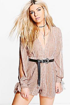 Sarah Striped Deep Plunge Tie Sleeve Playsuit