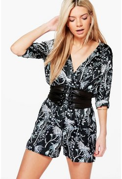 Ava Floral Print Satin Playsuit
