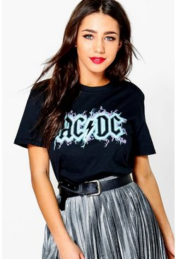 Aria ACDC Large Slogan Band T-Shirt