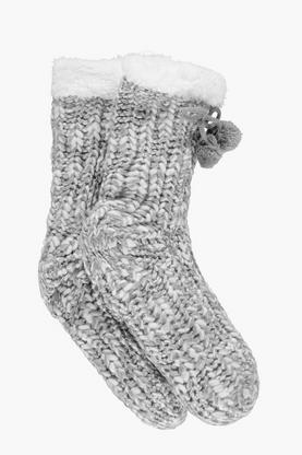 Anna Cable Knit Fleece Lined Slipper Sock
