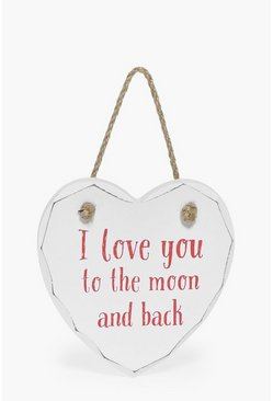 Moon & Back Loveheart Plaque