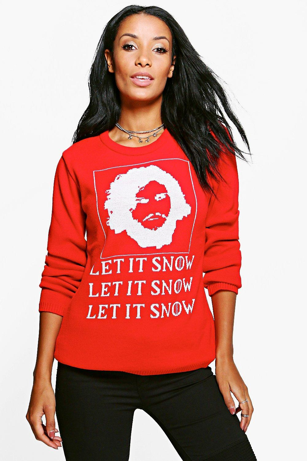 Product photo of Let it snow christmas jumper red