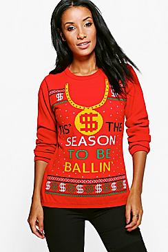 Lottie Tis The Season To Be Ballin' Christmas Jumper