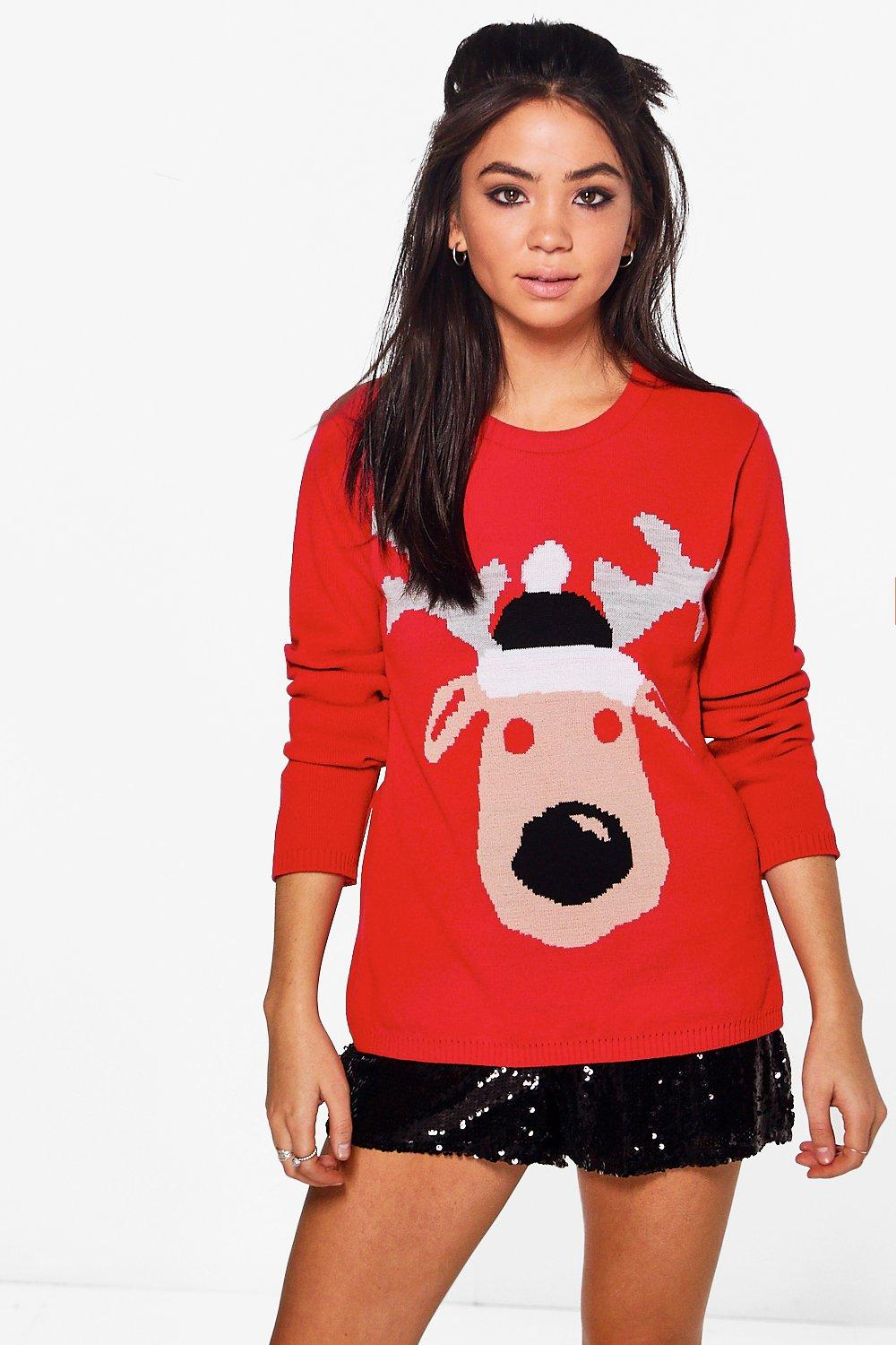Elizabeth Red Nose Reindeer Christmas Jumper