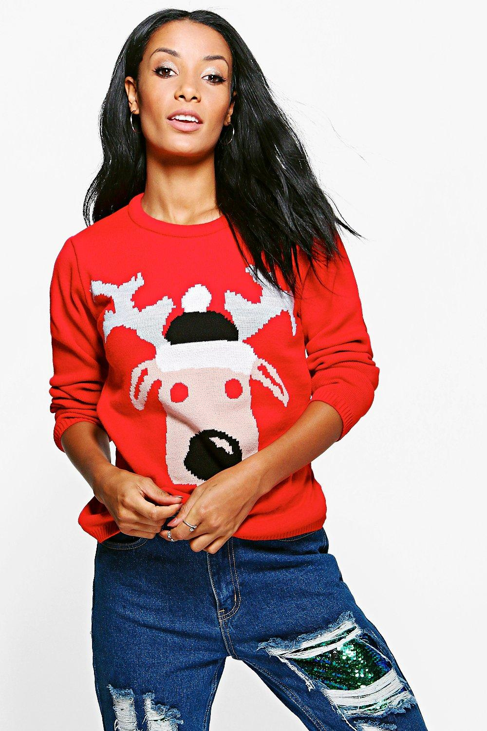 Product photo of Rudolph christmas jumper red