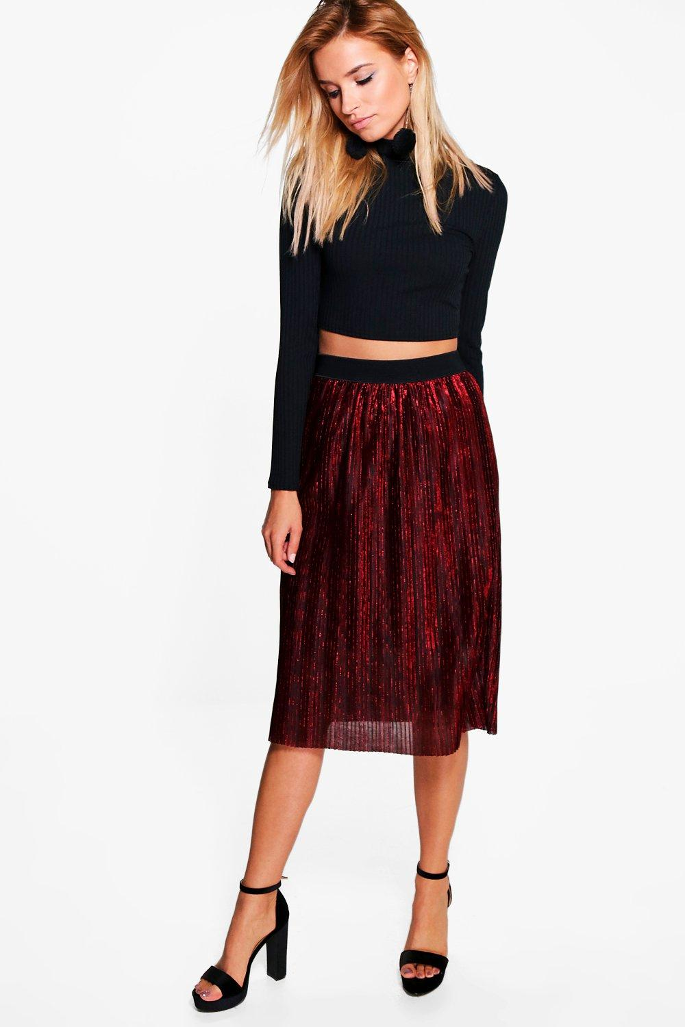 Shrea Metallic Pleated Midi Skirt