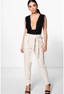 Evie Tie Waist Woven Slim Fit Trousers
