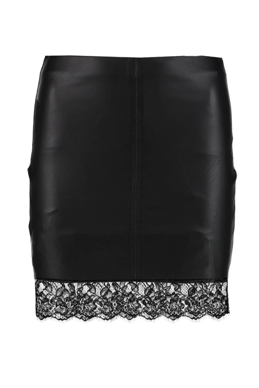 boohoo womens sloane leather look lace trim mini skirt ebay