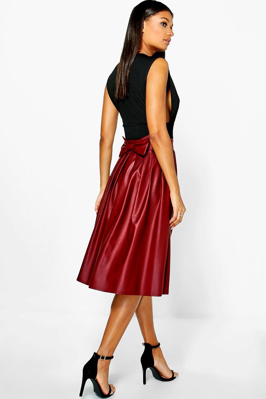 boohoo womens bow detail leather look midi skirt ebay