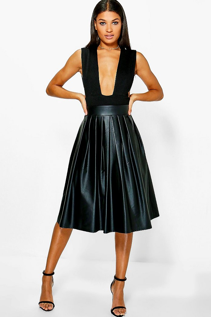 Tia Bow Detail Leather Look Midi Skirt