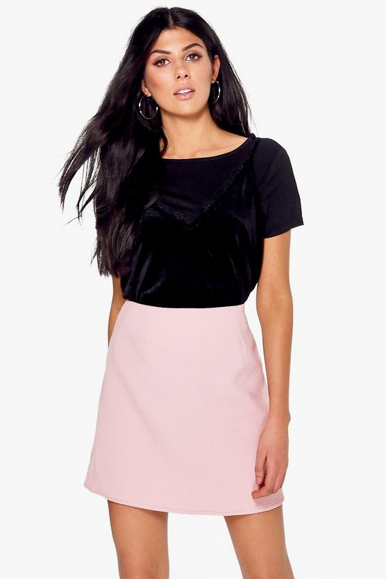 Natalya Textured Woven A Line Mini Skirt