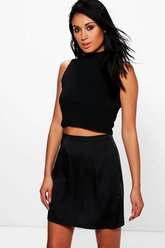 Liah Woven Matte Satin A Line Mini Skirt