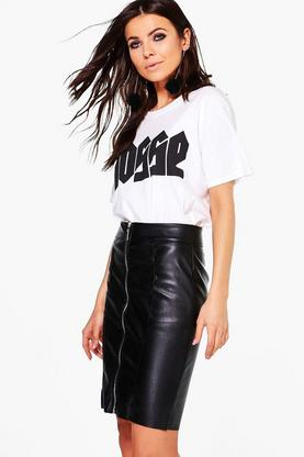 Azalea Zip Front Leather Look Midi Skirt