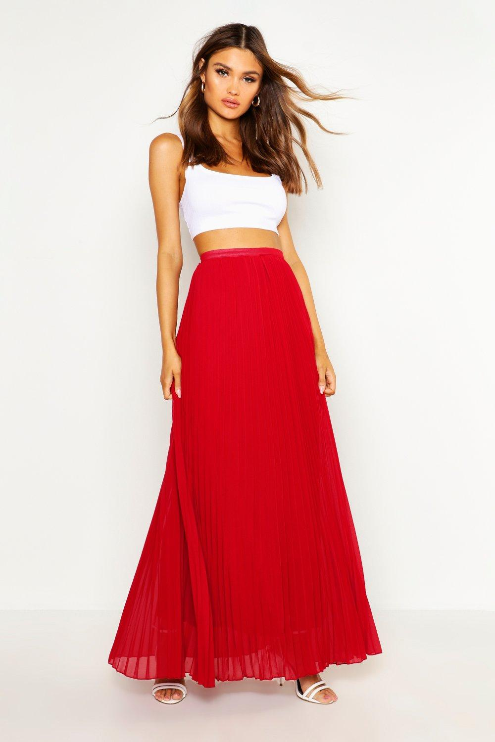 boohoo womens chiffon pleated maxi skirt ebay