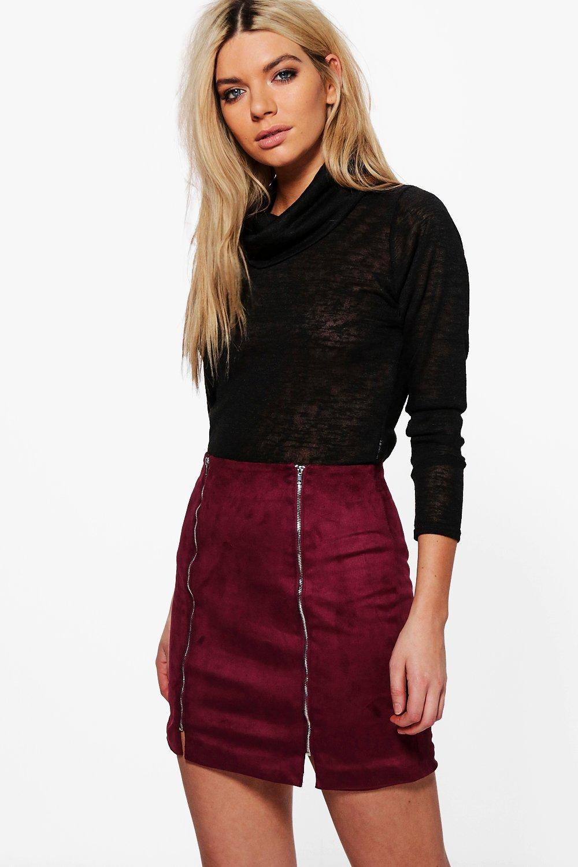 Double Zip Front Suedette Mini Skirt - plum