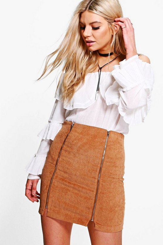 Brea Double Zip Front Cord Mini Skirt