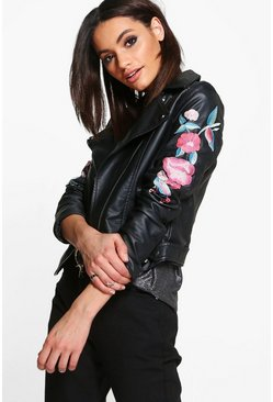 Alexandra Embroidered PU Biker Jacket