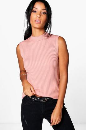 Elizabeth Sleeveless Turtle Neck Knit Tank
