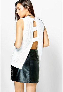Imogen Sleeveless Open Back Knit Top
