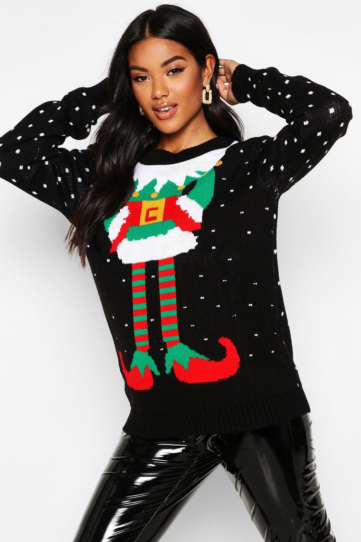 Womens Weihnachtspullover mit Elf-Aufdruck - Schwarz - s/m, Schwarz - Boohoo.com