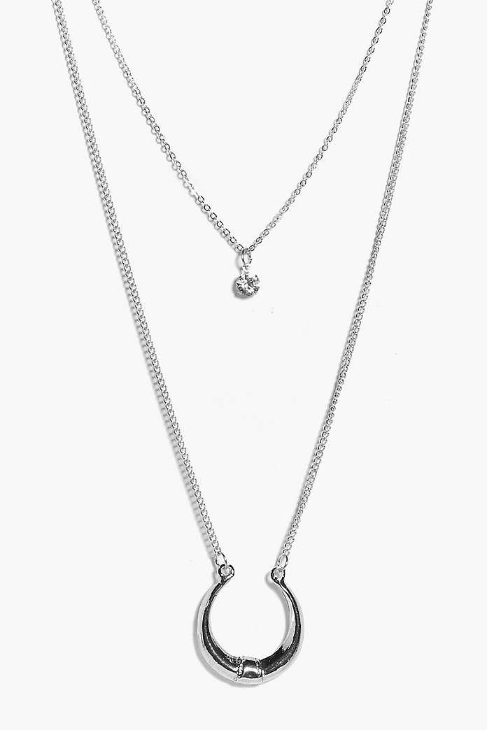 Ivy Crescent & Diamante Layered Necklace