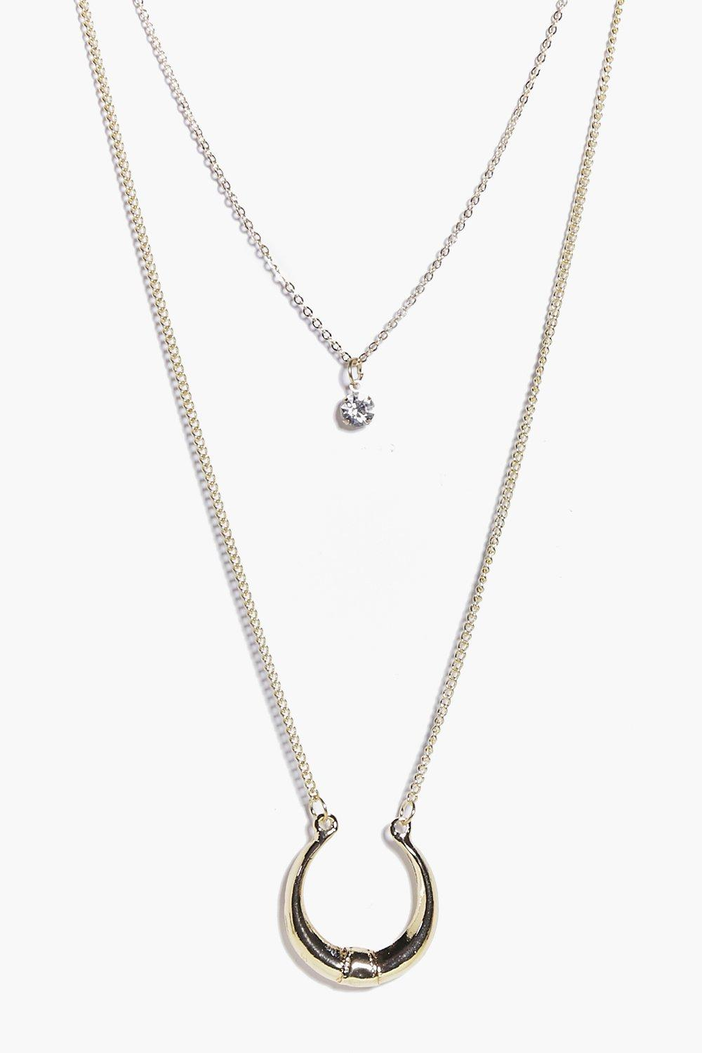Rose Crescent & Diamante Layered Necklace