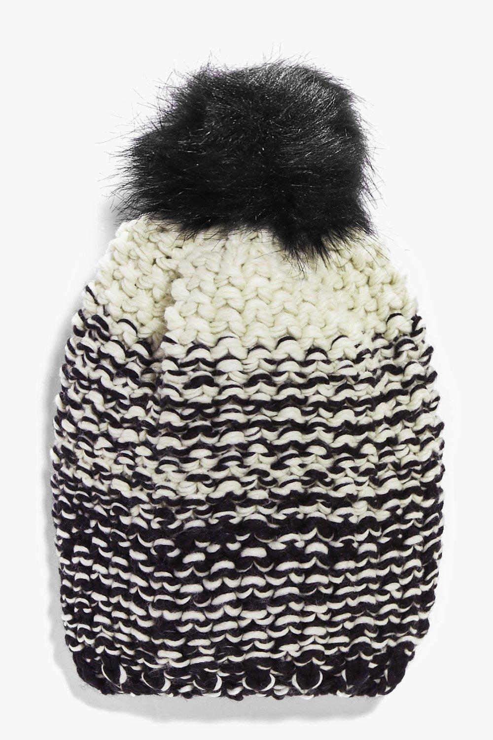 Brooke Ombre Knit Faux Fur Pom Beanie Hat
